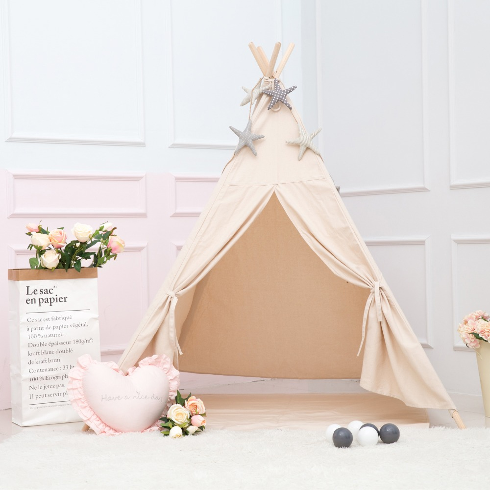 цена Princess Kids Teepee Play Tent 100% Cotton Canvas Children Tipi Playhouse Indoor Outdoor Toy Boys Girls Baby Gift Beige With Mat
