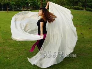 "Image 5 - 1 PIECE solid white 2.7m*1.14m(3 yard*45"")  6mm habotai real silk belly dance half circle veil."
