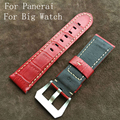 24mm 26mm Handmade Italian Red Vintage Genuine Leather Watch Band Strap For Panerai PAM And Big Watch