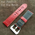 24mm 26mm Handmade Italiano Red Vintage Genuine Leather Watch Strap Banda Para Panerai PAM E Grande Relógio