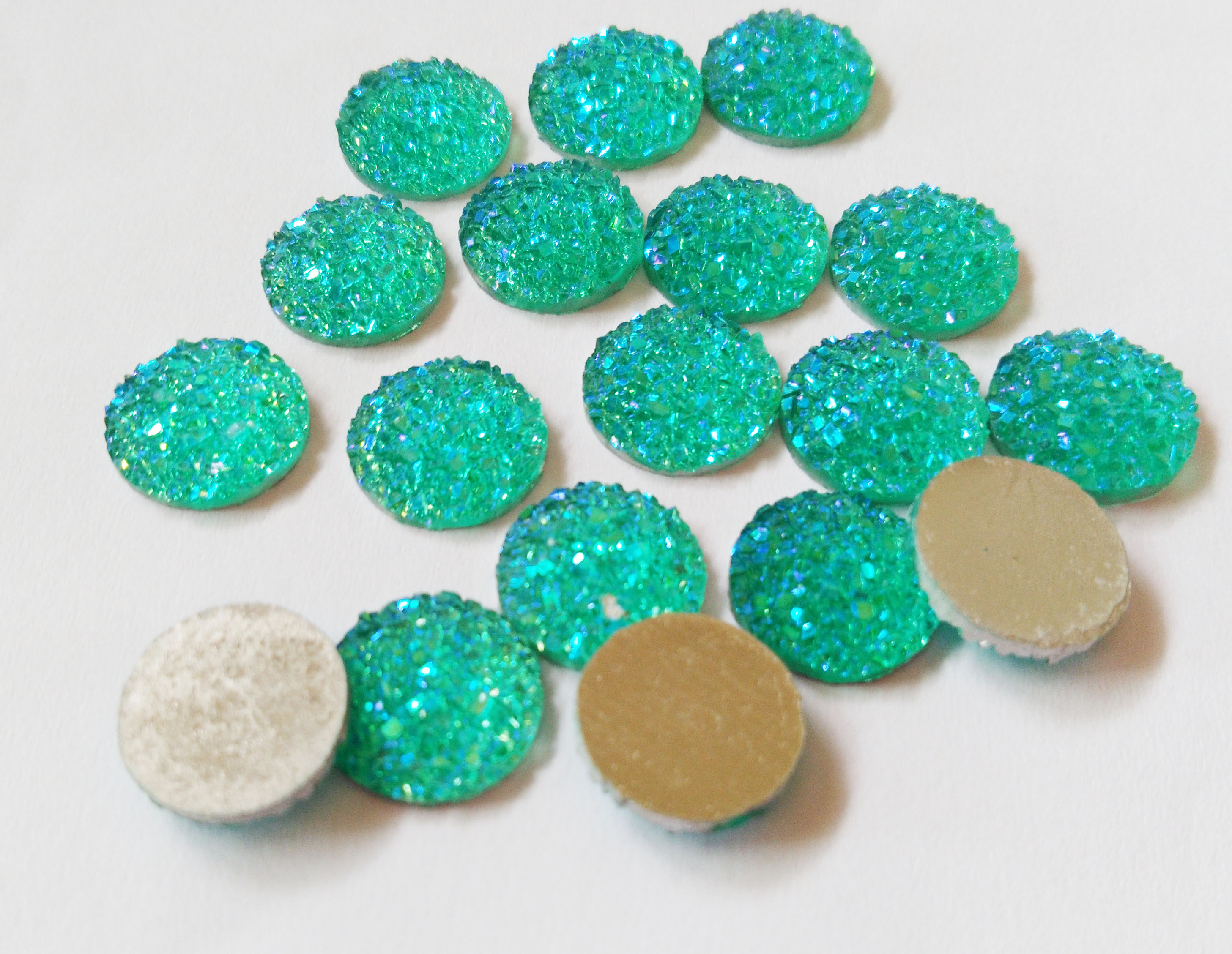 10pcs/lot Circle Glitter Resin Green Druzy Cabochons druzy beads12mm For DIY Druzy Jewellery Making