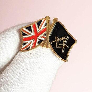50pcs Customized Soft Enamel Lapel Pins Free Masons Badge Metal Craft Lodge United Kingdom UK Flag Masonic Freemason Pin Brooch