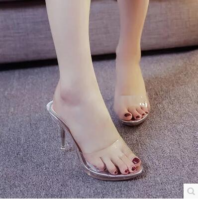 Image 2 - Shoes Woman High heels Slippers Sandals Ladies Shoes Transparent Crystal thick Crust Waterproof Thick Peep Toe Famale Shoesslipper shoesslippers toewomans slippers lady -