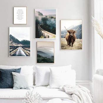 Wall Art Landscape Canvas Poster Nordic Nine Arch Bridge Foggy Forest  2