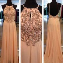 Luxury Beaded Chiffon Evening Dress 2015 Sexy Spaghetti Straps Backless Gown Long A-Line Prom Vestido De Festa