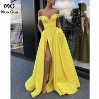 2018 Off The Shoulder Evening Dresses Long V neck Front Slit Short Sleeve Prom Dresses Prom Party Dress A Line Evening Dress