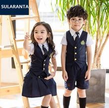Детские хлопковые Корейский студент школьная униформа комплект костюм для девочек и мальчиков жилет рубашка юбка-шорты Одежда с галстуком