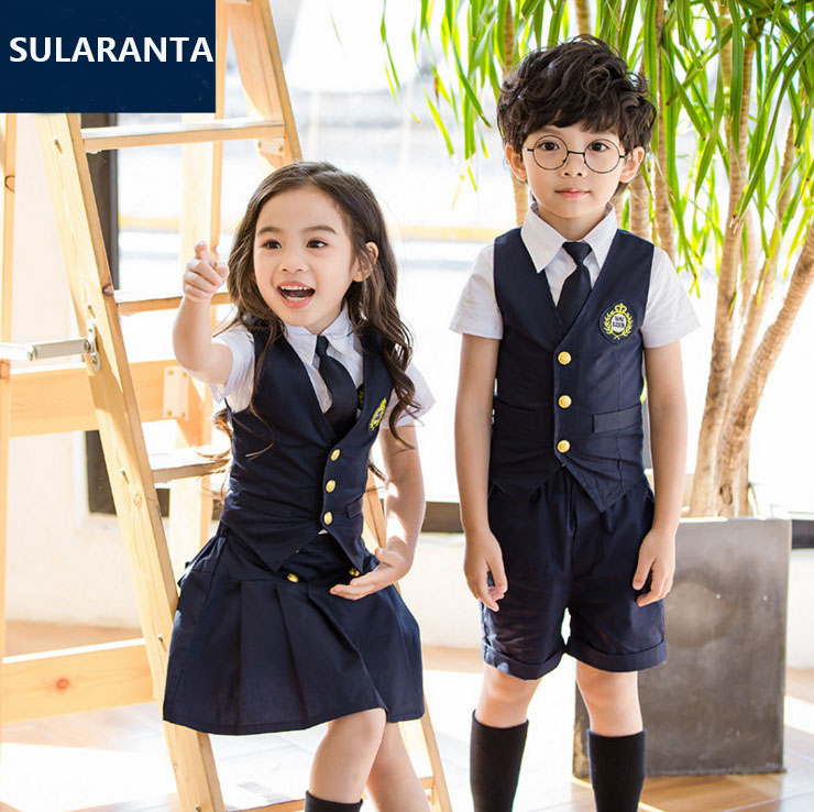 Barn Navy Blue Bomull Japansk Student Skol Uniforms Set Suit For Girls Boys Waist Vest Shirt Kjol Shorts Tie Clothes