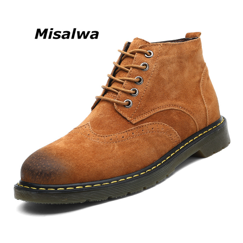 Misalwa Men's Big Plus Size Brown Suede Work Safety Boots Spring Leather Winter Snow Warm Plush Casual Black Ankle Boots Shoes цены онлайн