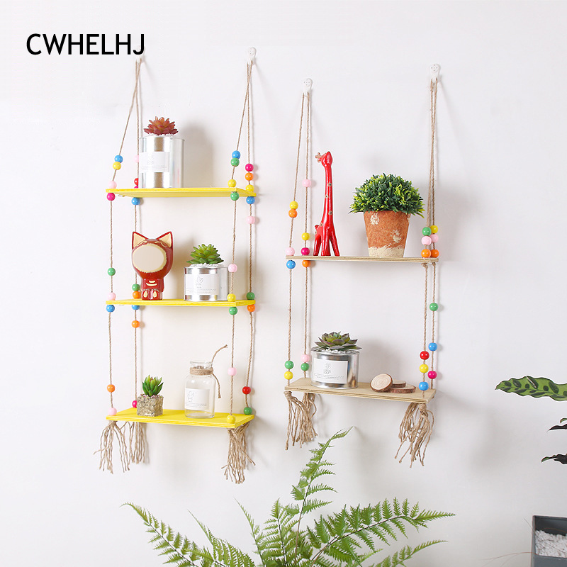 Nordic Colorful Beads Wall Wooden Hemp Rope Wood Shelves Hanging Storage Shelf Kids Room Decorative Wall Rack Display Shelving