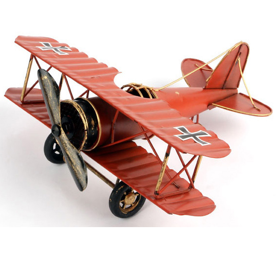 Tin Plate Aircraft Model Handmade Metal Crafts Airplane 3 Colors Iron Plane Retro Style Antique Imitation Home Decor Unique Gift