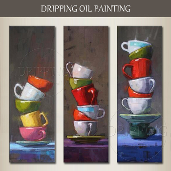 Hand-painted High Quality Modern Home Decor Mugs Oil Painting 3 Pieces Wall Canvas Painting Mugs Oil Painting for Wall Decor
