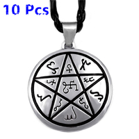Wholesale 10 Pcs Alchemical Theban Heremetic Wiccan Pentacle Star Pagan Amulet Mens Pewter Pendant with Necklace ewelry WLP323