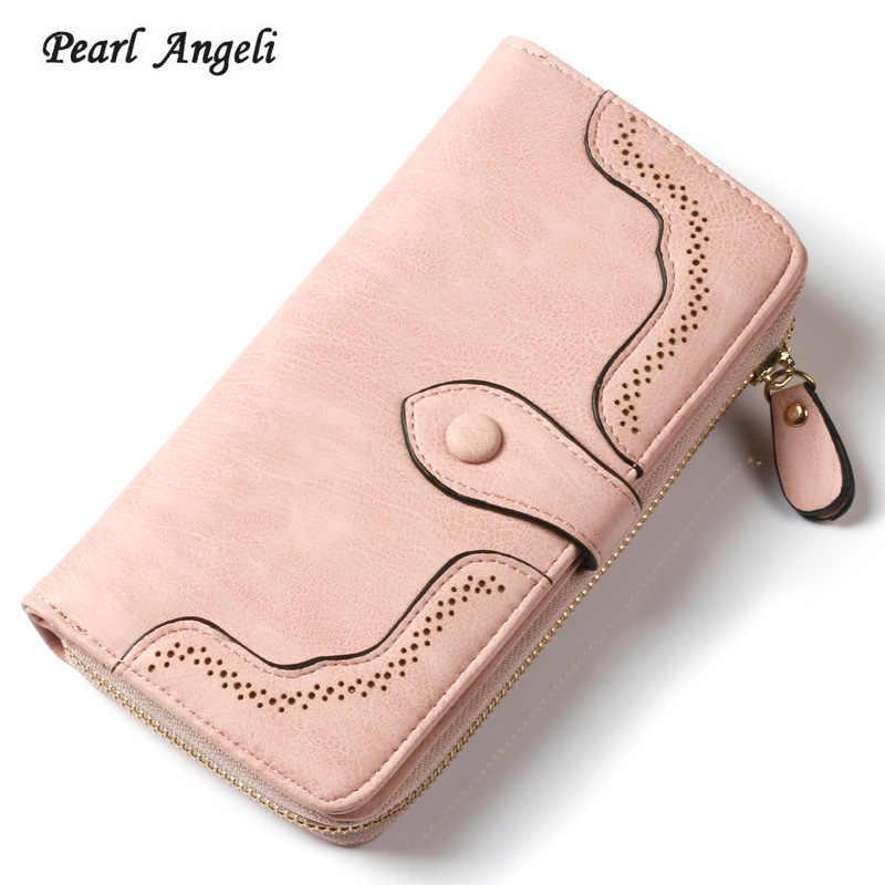 3852f0c1cb1b Новый модный длинный женский кошелек кожаный женский кошелек держатель для  карт деньги монета карманные кошельки Засов