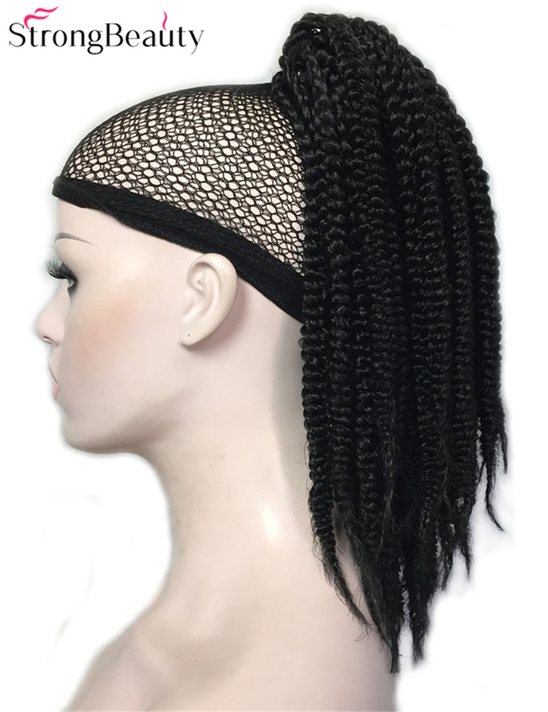 Strong Beauty African American Black Braids Braided Synthetic Ponytail Hairpiece Claw Clip On Extensions