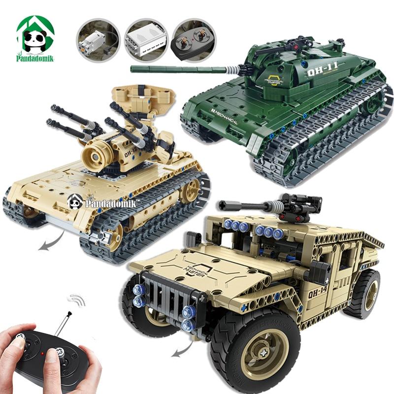 Building RC Toys Tank Technic Radio Remote Controlled Military Hummer Model Building Kits Blocks Bricks Boys Toys birthday gifts