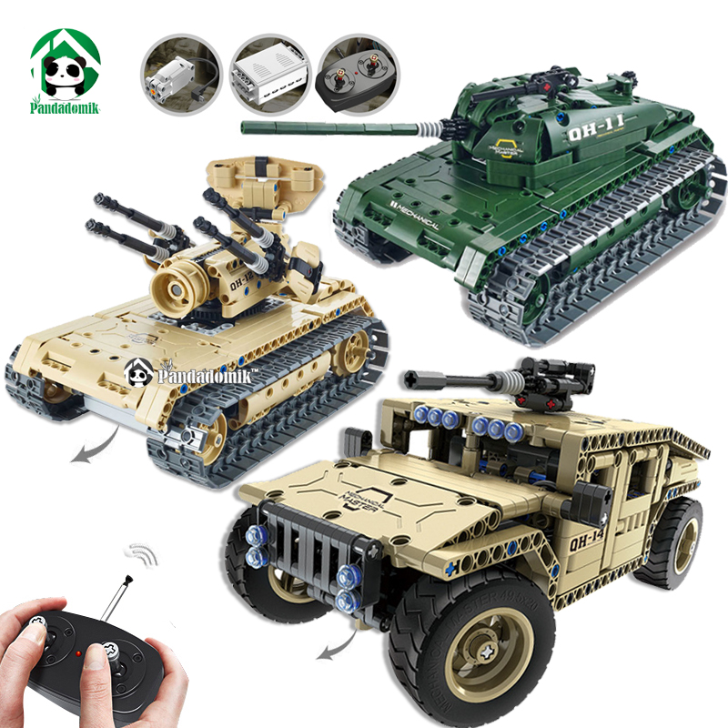 Military Hummer RC Tank Building Blocks Remote Control Toys for Boys Weapon Army RC Car Kids Toy Gift Bricks Compatible lepin xinlexin 317p 4in1 military boys blocks soldier war weapon cannon dog bricks building blocks sets swat classic toys for children