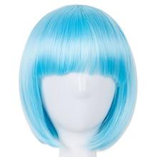 Термостойкий короткий волнистый синий парик Fei-Show, синтетический костюм, Хэллоуин, карнавал, косплей, волосы, плоская челка, женский парик