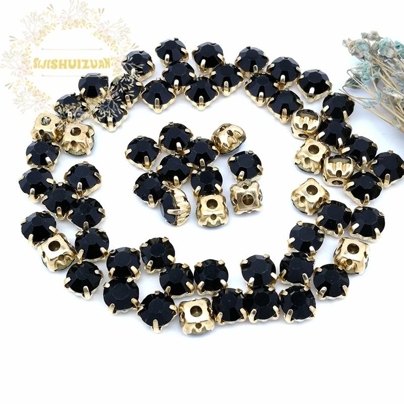 Стеклянные стразы в форме черного алмаза, 3 мм, 4 мм, 5 мм, 6 мм, 7 мм, 8 мм, с золотыми когтями, аксессуары для свадебного платья «сделай сам»
