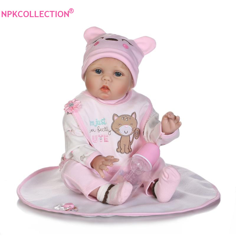 Lifelike 55cm Reborn Baby Doll with Blonde Hair of Kids' Playmate Gifts For Girls Xmas Gifts Toys Soft Body Boneca Reborn Dolls new arrival 55cm blue eyes pink clothes lifelike baby soft girl doll with free plush toy as kids xmas gifts birthday doll toys