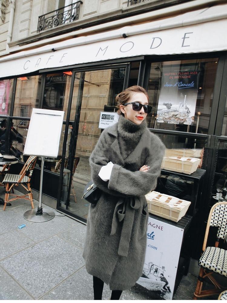 Pull Long Femmes Tricoté En Vison vert Pu Gilet Outwear De Ciel Ceinture Avec gris Dames Veste Cachemire Manteau Mode xqI5rq