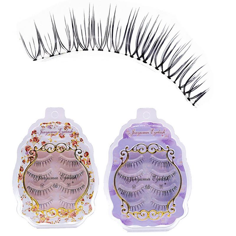 4 Pairs New Japanese Style Natural Short Cross Transparent False Eyelashes