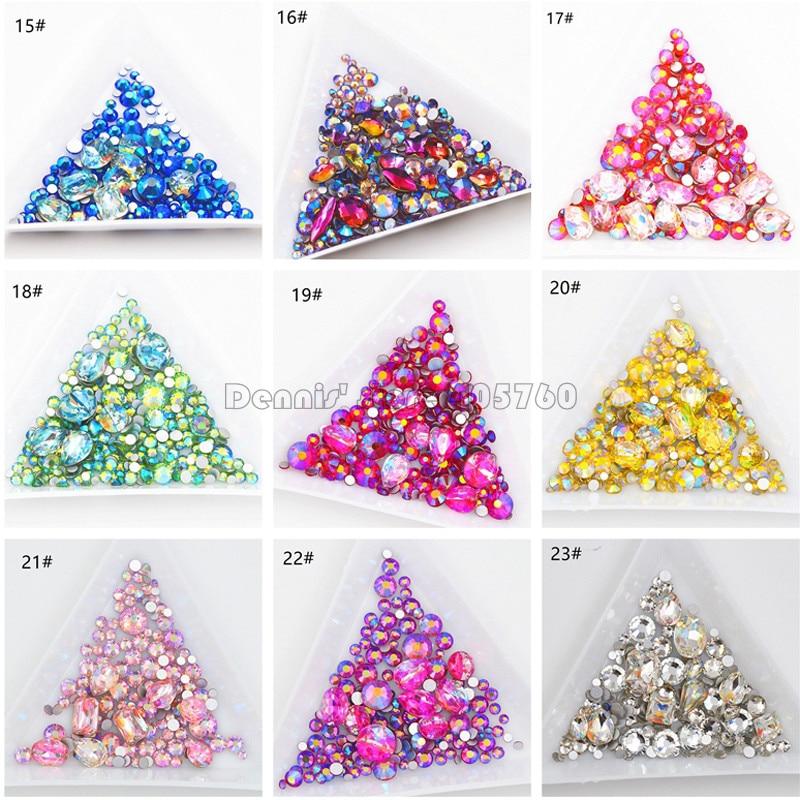 Wholesale 23 Colors Mix Sizes Mix Shape Glitter 3D Diamond Facet Flat Back Rhinestones Acrylic Nail