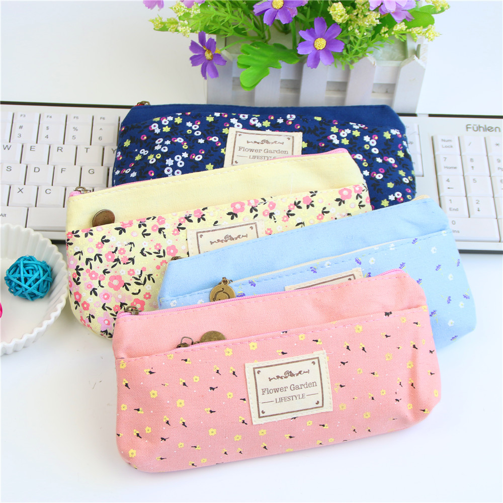 School zipper bag - School Pencil Bag Pencil Pouch Double Zipper Pure And Fresh Cosmetic Bags Office Stationery Canvas Pencil