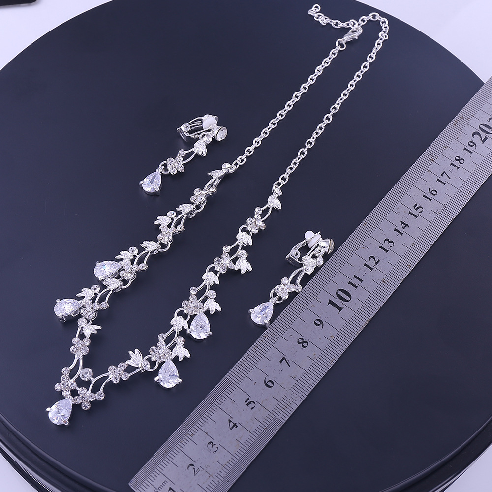 Sliver Plated Rhinestone Crystal Faux Pearl Necklace+Earring Jewelry Set For Bride Bridal Wedding (5)