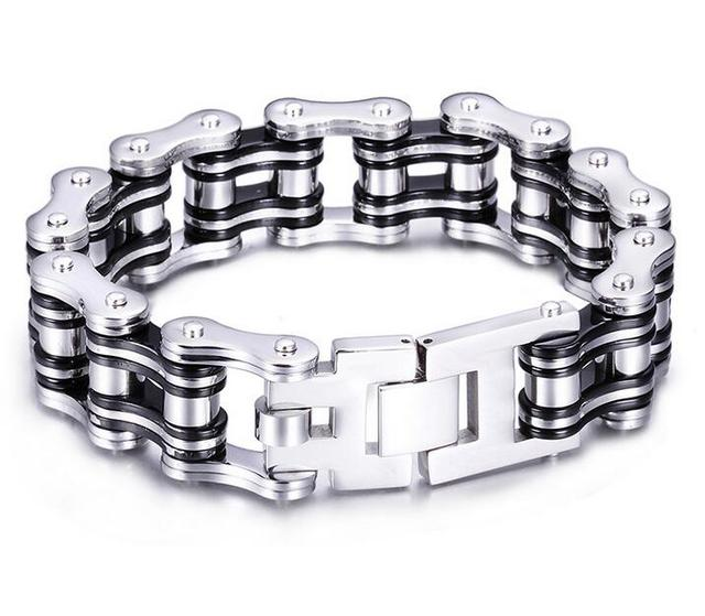 4b9759f7a1144 US $19.98 20% OFF Heavy Punk Men Black Silver Red Bicycle Biker Motor chain  bracelet jewelry 316L stainless steel bike motorcycle bangle for boys-in ...