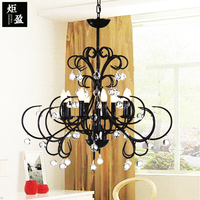 American country Vintage black color Wrought Iron Chandelier minimalist dining room bedroom