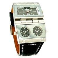 Oulm腕時計高級メンズビジネス軍事腕時計時計男性ダブルムーブメントクォーツ時計oulm 9525 montreオム