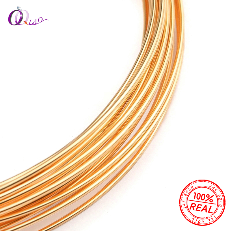 One Meter 0.25/0.41/0.64/0.8mm Half Hard Gold Filled Beading Wire Metel Thread 14k Gold Wire For Gold Jewelry Making Earring DIY