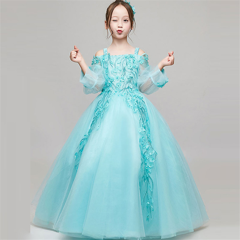 2018 Summer New Luxury Kids Girls Sling Princess Birthday Wedding Party Prom Dress Kids Pageant Long Dress Christmas clothes2018 Summer New Luxury Kids Girls Sling Princess Birthday Wedding Party Prom Dress Kids Pageant Long Dress Christmas clothes