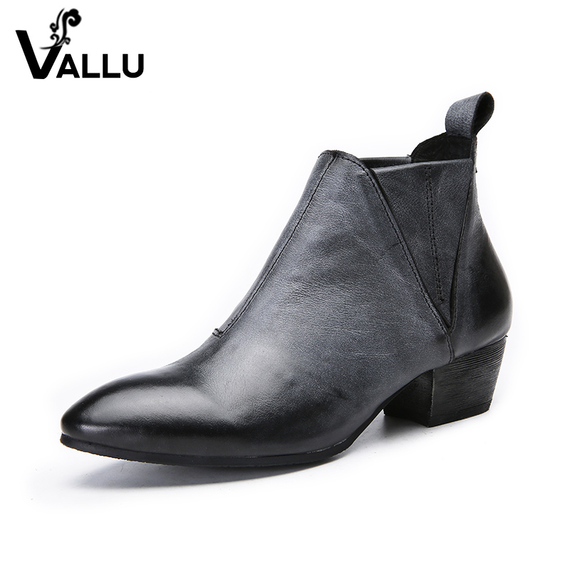 2018 New Arrival Boots Women Genuine Leather Short Boots Ladies Thick Heel Handmade Retro Pointed Toe Elastic Band Women Shoes 2018 autumn new style genuine leather ankle boots pointed toe thick heel chelsea boots calf leather women boots ladies shoes