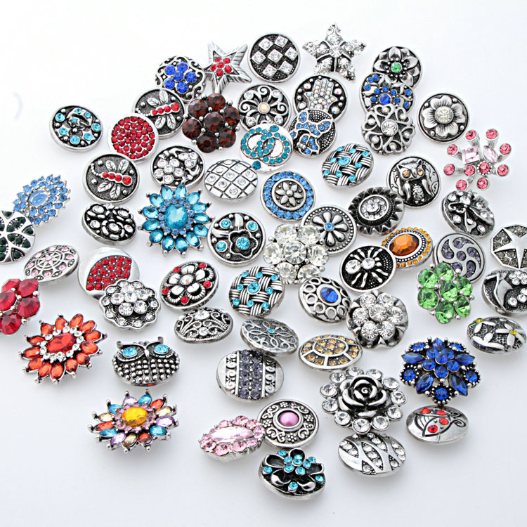 Hot sale 50Pcs Mixed styles 18mm Rhinestone metal snap buttons fit DIY snap bracelets Jewelry wholesale