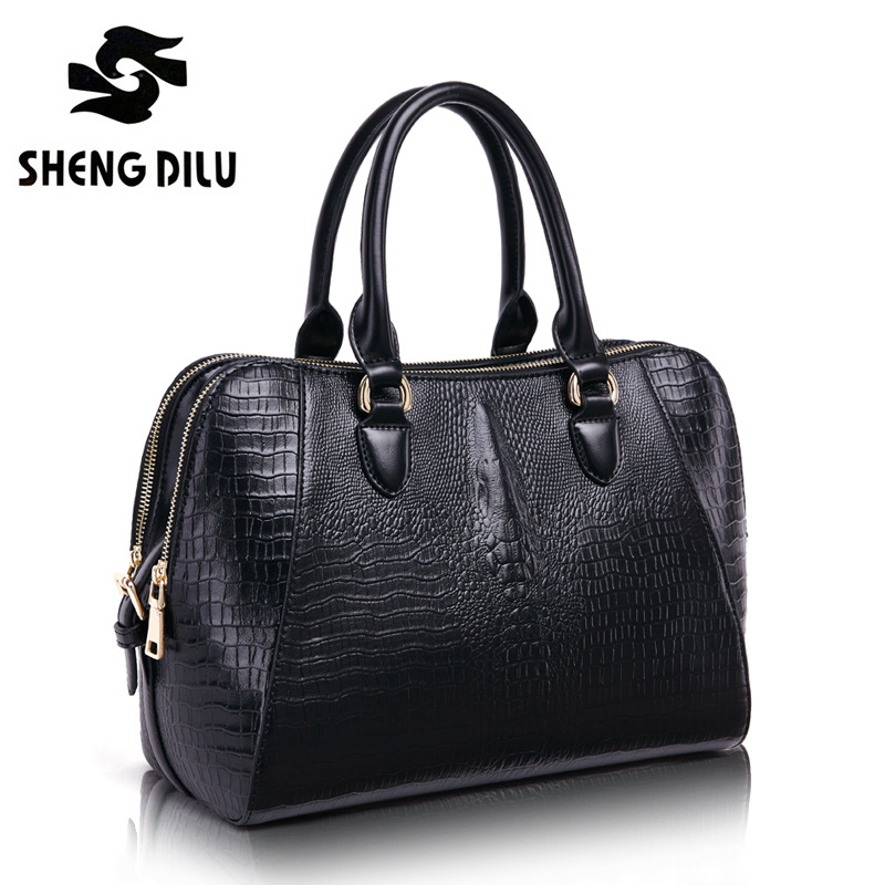 ShengDiLu Fashion Brand 2017Women Genuine Leather Handbags sheepskin Messenger Bags Female Crossbody Large Lady Shoulder Bags