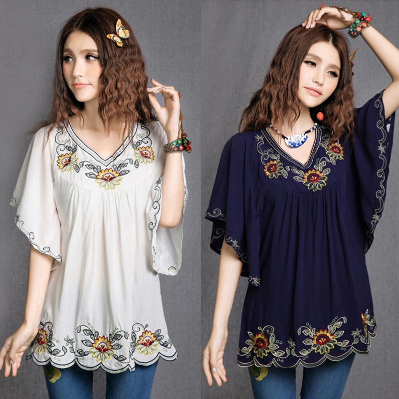 2019 Women Cotton Tops Blouse Tunic Vestidos Vintage Mexican Ethnic Floral Embroidery Mini