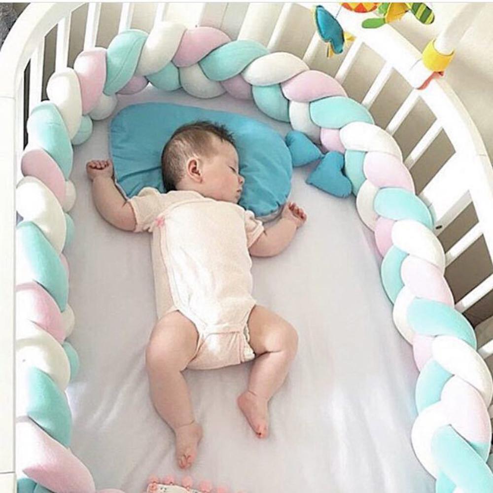 Длина 200 см, высота 12 см, одноцветная детская мягкая подушка, плетеная детская кроватка, бампер, подушка с узлом, подушка, колыбель, декор для маленьких девочек и мальчиков - Цвет: white pink green 2M