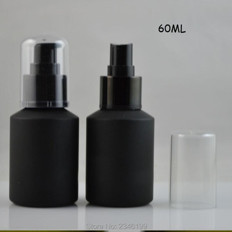 60ML 14pcs/lot DIY Matte Black Glass Spray Bottle, Superior Quality Lotion Pump Bottle, Empty Cosmetic Emulsion Storage Bottle