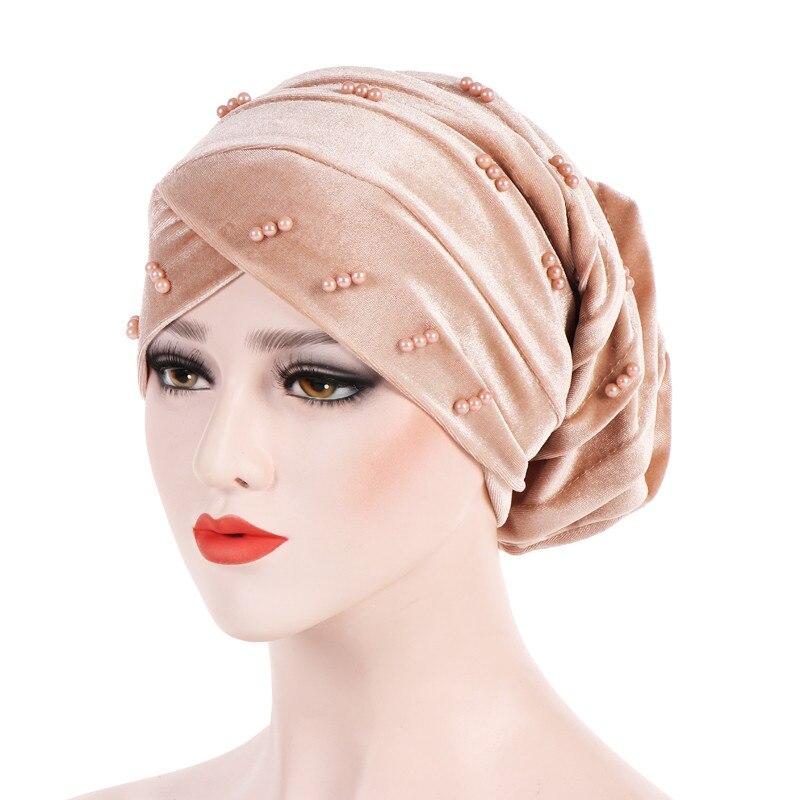 New Fashion Women Autumn Winter Muslim Beading Pearl Ruffle Hat Beanie Scarf Turban Head Wrap Cap  #4F09 (4)