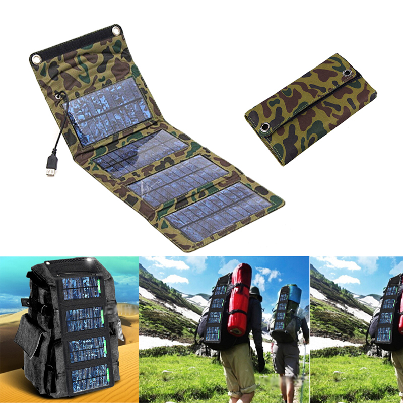 High Quality 5V 7W Portable Solar Charger for Mobile Phone iPhone Folding Mono Solar Panel+Foldable Solar USB Battery Charger