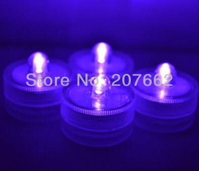 48 шт./лот беспламенного свеча свет погружной водостойкий светодиодная свеча-таблетка огни батарея работает Свадебная ваза - Цвет: purple