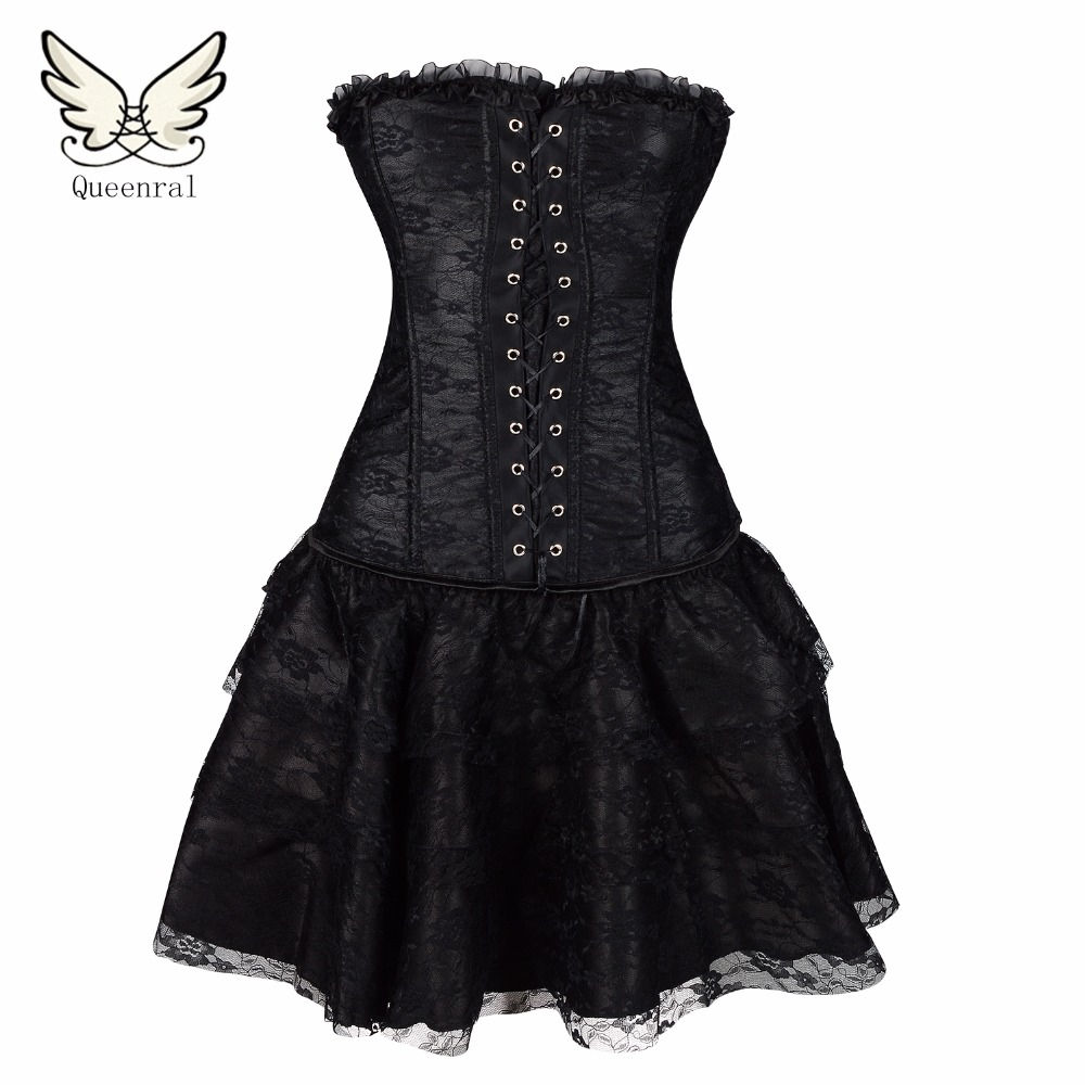 Steampunk Waist Trainning Boned Corset Overbust Lace Up Top Plus Size 6 8 10-16