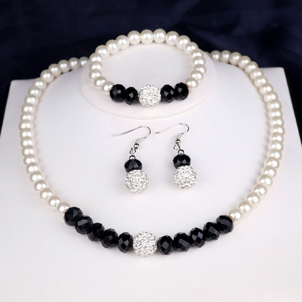 1 set Simulated Pearl Jewelry Sets for Women Drop Earrings Chain Necklace Set Wedding Party African Beads Jewelery set