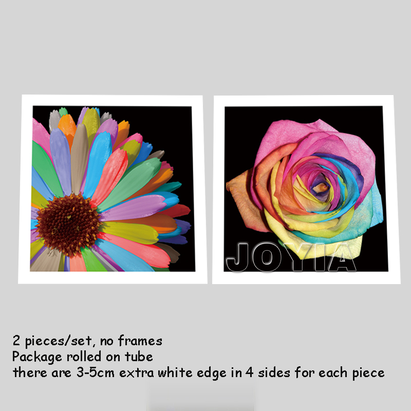 Floral wall art modern wall decorative pictures rainbow sunflower painting canvas black flower art prints room decor no frame in painting calligraphy from