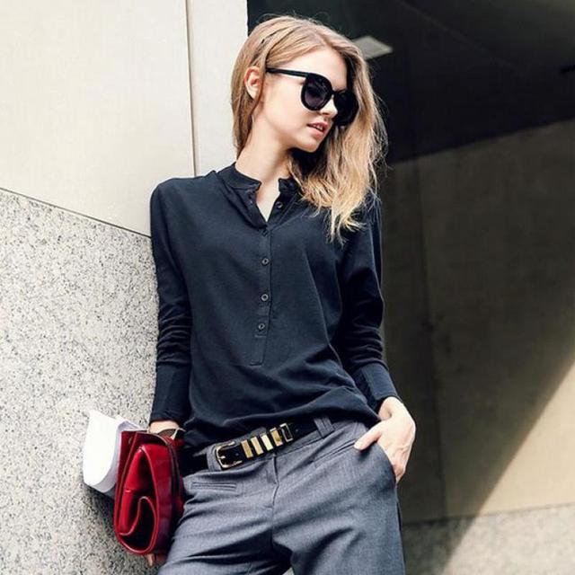 Простая черная рубашка-поло обычная топы С Длинным Рукавом Женщин Рубашки Поло женские рубашки поло хлопок корейских женщин poloshirt поло mujer