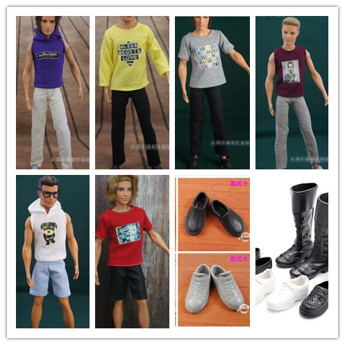 New 10Pcs=5 Clothes Suits+5 Shoes Fashion KEN Clothes Outfit Suits Boyfriend And Shoes Accessories Clothing For Barbie Doll