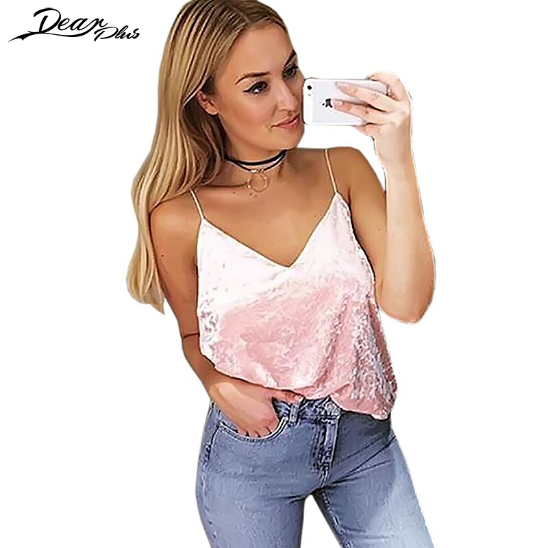Summer Style Sleeveless Velvet Camis Women Sexy V Neck Spaghetti Strap Sexy Club Tank Top Casual Loose Camisole Tank Tops