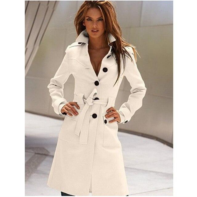 Черный Длинный Плащ Плюс Размер Однобортный Твердые Тонкий Женщины Зимнее Пальто С Длинным Рукавом Стенд Регулируемый Талия Белый Jackts B22